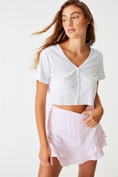 Sasha Frill Mini Skirt, ROSA STRIPE FRAGRANT LILAC