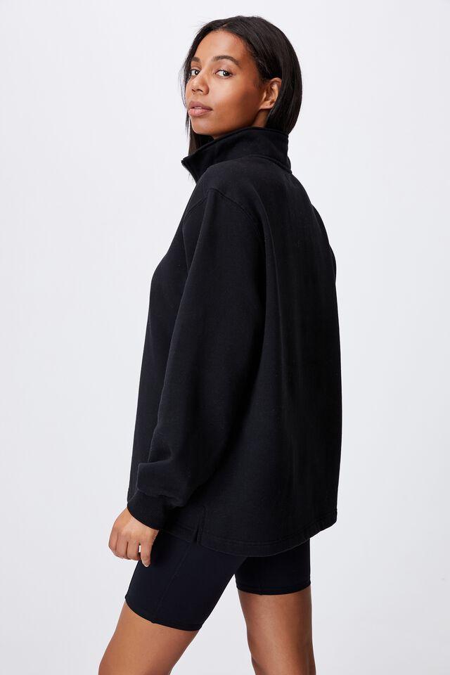 Classic 1/4 Zip Pullover, BLACK