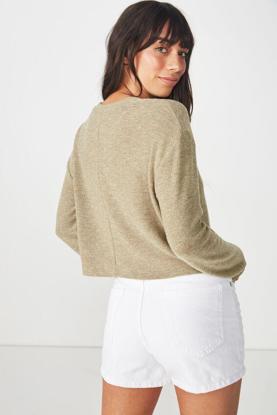 Arna Textured Boxy Long Sleeve, SILVER SAGE
