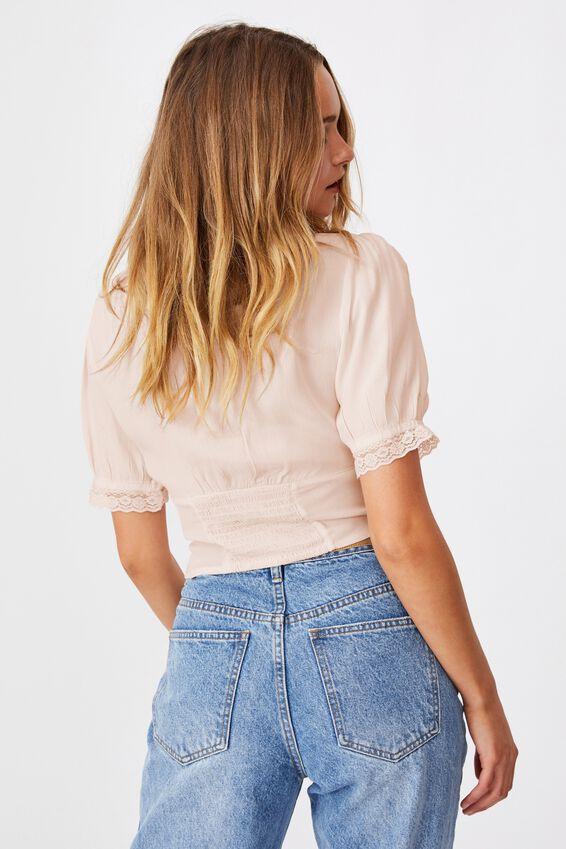 Lace Trim Short Sleeve Blouse, SOFT PINK