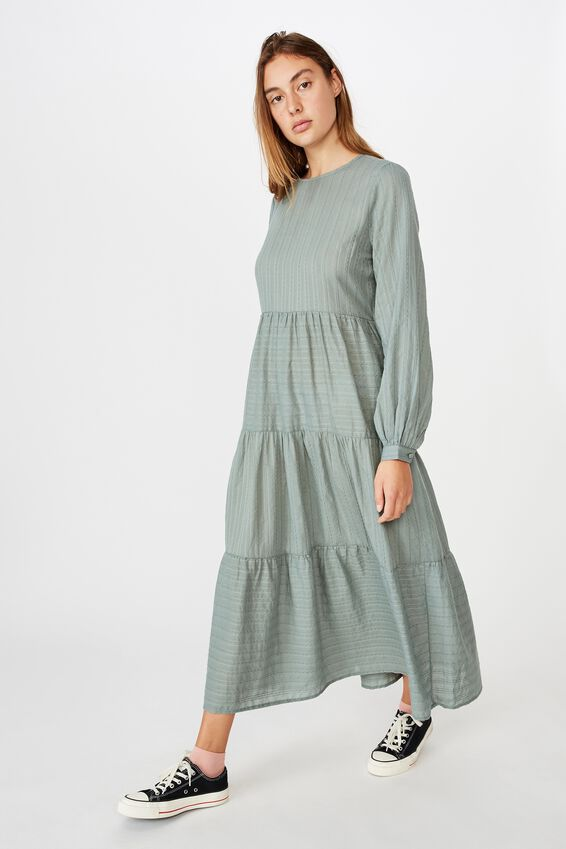 Woven Rebeka Tiered Maxi Dress, CHINOIS GREEN