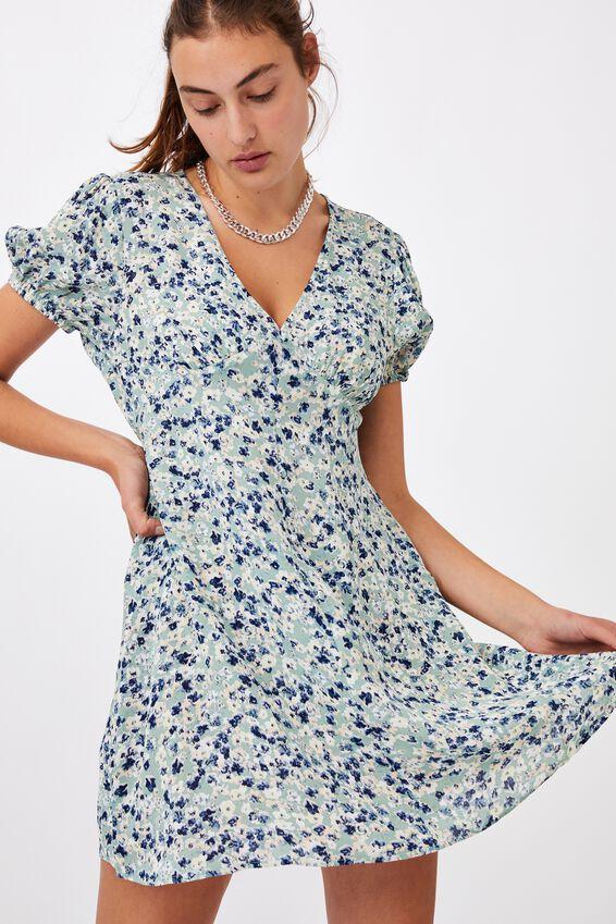 Woven Essential Button Front Mini Dress, CASEY FLORAL SOFT SAGE