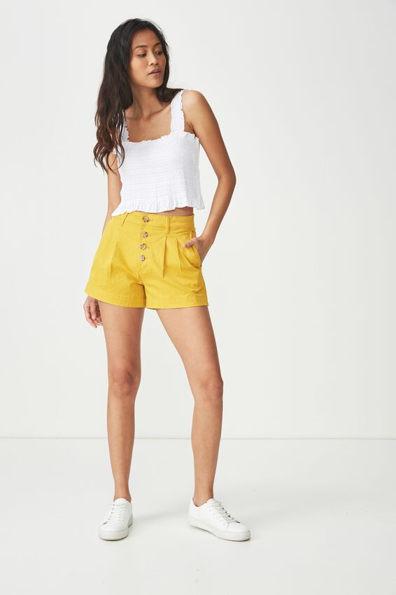 Button Front Short, TAWNY OLIVE