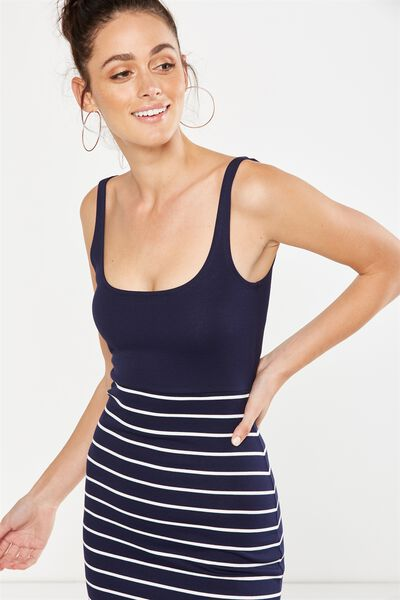 Kimi Scooped Bodycon Midi Dress, NAVY/WHITE BRETON STRIPE