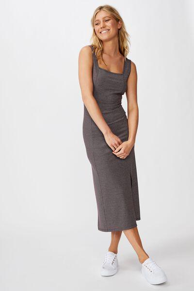 Tracey Strappy Split Midi Dress, MAGGIE STRIPE SUNDRIED TOMATO RIB