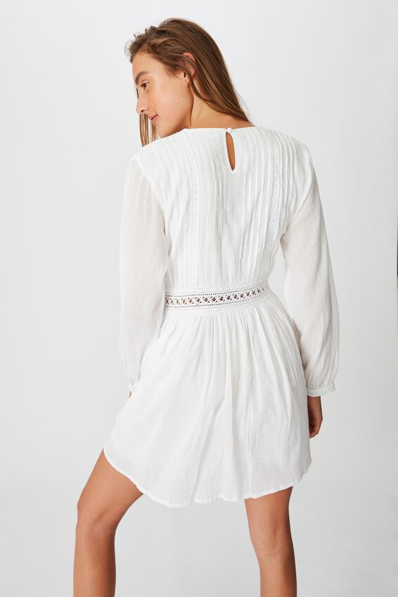Woven Meredith Crew Neck Mini Dress, WHITE