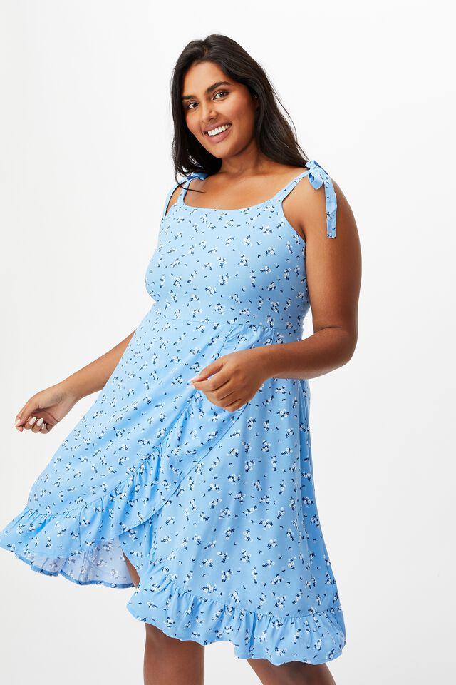 Curve Woven Kaela Mini Dress, RIDDLE DITSY COLLIGIATE BLUE