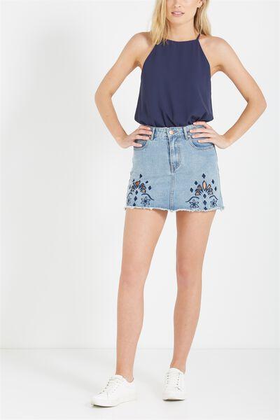 A Line Cutwork Mini Denim Skirt, NAVY