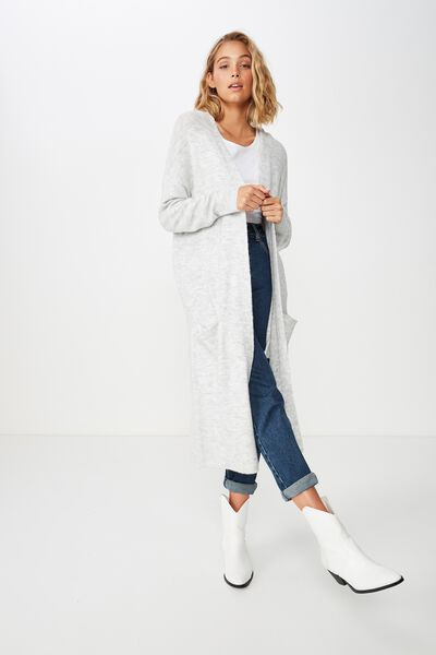 Split Back Cardi, GREY MARLE