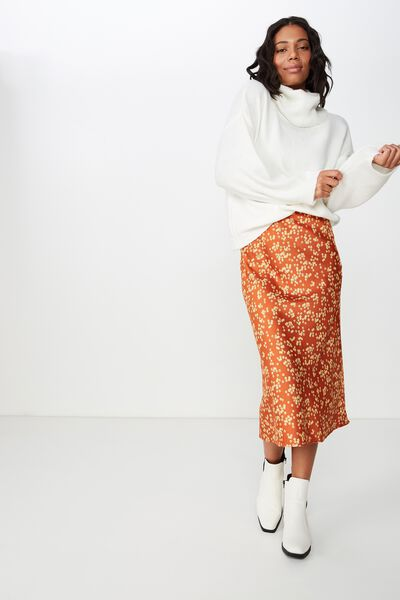 Woven Belle Bias Midi Skirt, ALICE DITSY RUST TAN