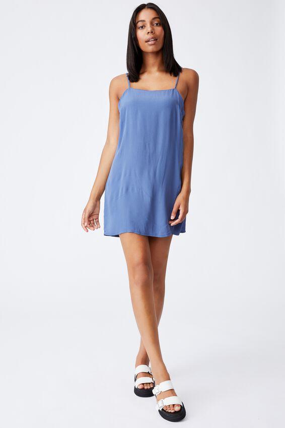 Woven Kye Strappy Mini Dress, COASTAL BLUE