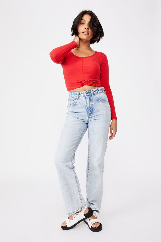 A Tilly Twist Front Long Sleeve Top, LUCKY RED