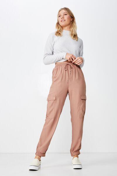 Cerrie Drapey Utility Pant, BROWNIE