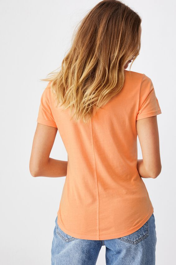 The One Fitted V Tee, WASHED ICY APRICOT