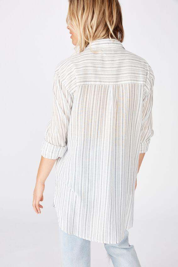 Savannah Oversize Resort Shirt, ANGIE STRIPE MOOD INDIGO