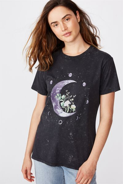 Classic Arts T Shirt, MOON FLOWER/BLACK