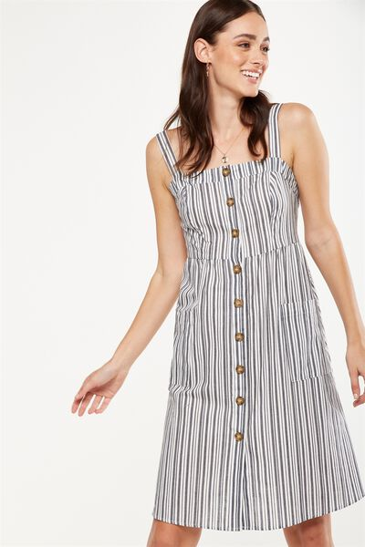 Woven Lottie Midi Dress, CYPRUS STRIPE WHITE/NAVY