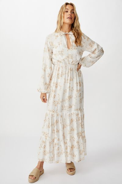 Woven Michelle Long Sleeve Maxi Dress, HANNAH FLORAL NOMAD