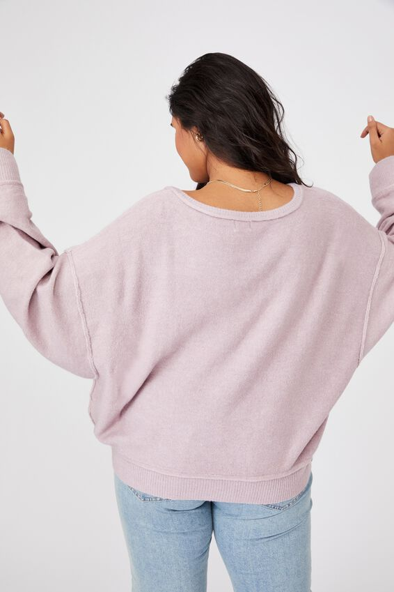 Curve Preppy Cable Pullover, BURNISHED LILAC