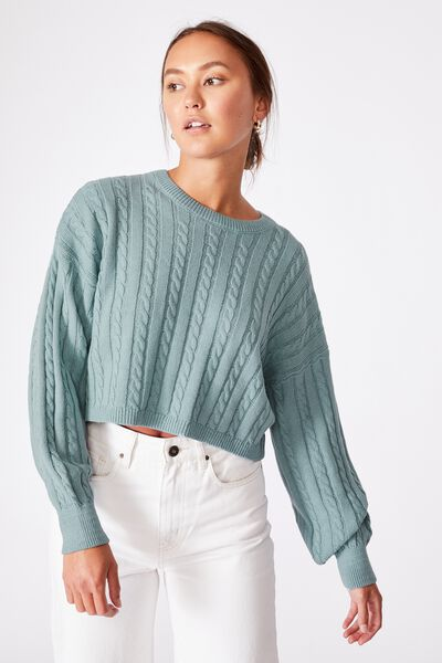 Cable Co-Ord Pullover, NOSTALGIA BLUE