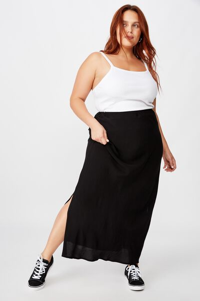 Curve All Day Slip Skirt, BLACK