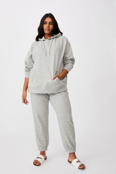 Curve Dad Maxi Peached Oversized Hoodie, GREY MARLE