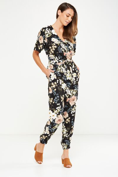 Woven Olivia V Neck Cuffed Jumpsuit, DANI FLORAL TOTAL ECLIPSE