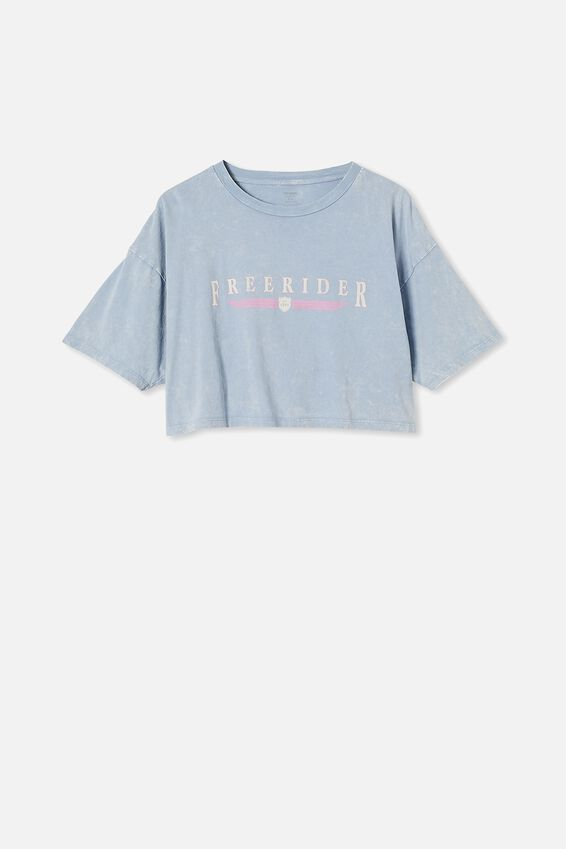 Chopped Boyfriend Tee, FREERIDER/VINTAGE BLUE