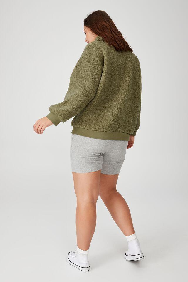 Curve Quarter Zip Through Teddy Pullover, SOFT MOSS