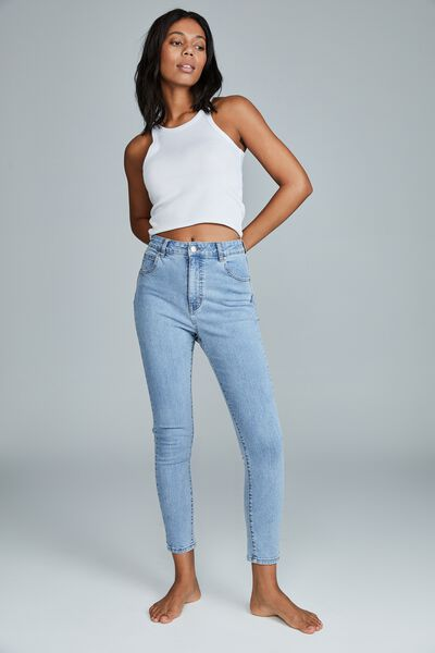 High Rise Cropped Skinny Jean, FLYNN BLUE