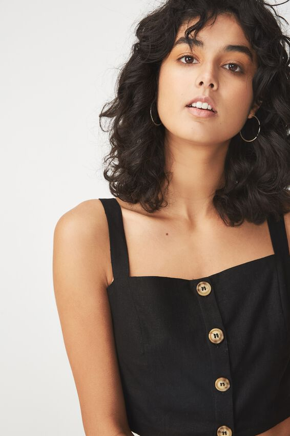 Carla Button Front Tank, BLACK
