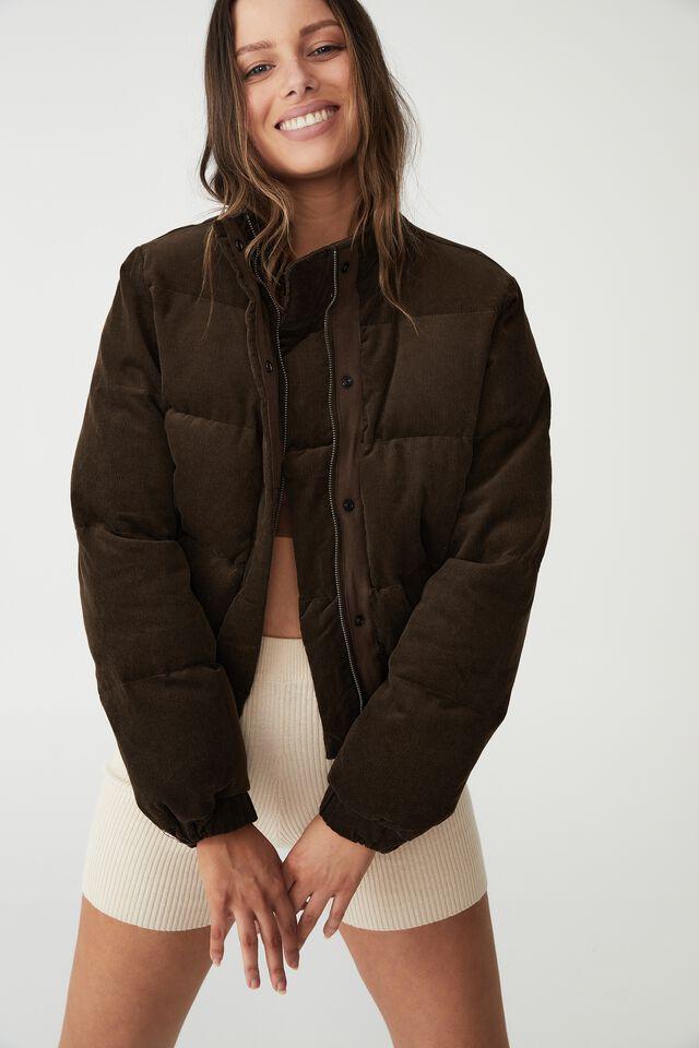 Cord Padded Jacket, DARK CHOCOLATE