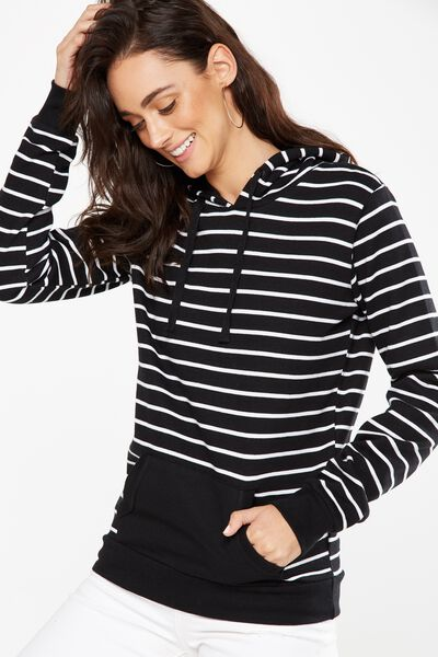 Delevingne Graphic Hoodie, BLACK/WHITE STRIPE
