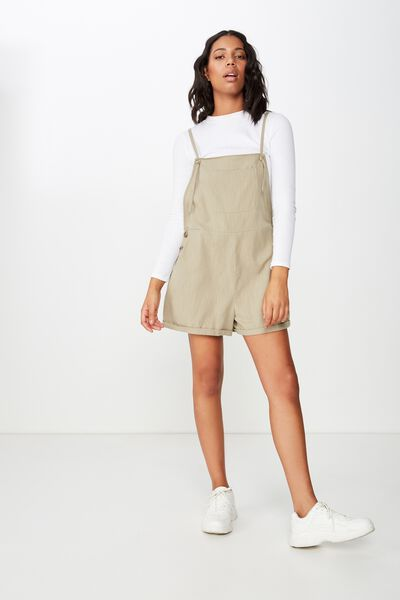 Woven Venus Pocket Playsuit, KHAKI