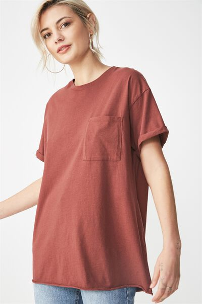 The One Boyfriend Pocket Tee, RICH BROWN