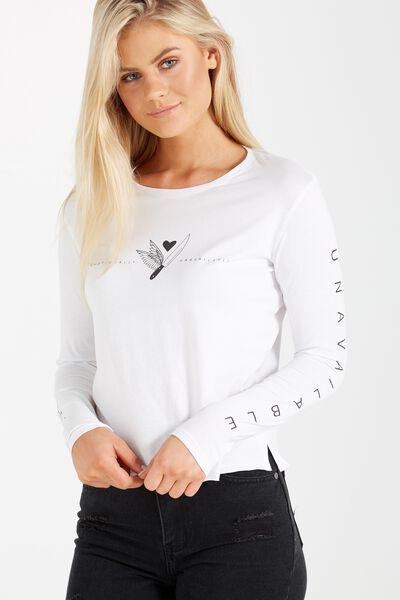 Tbar Long Sleeve Graphic Chop Tee, EMOTIONALLY UNAVAILABLE/WHITE