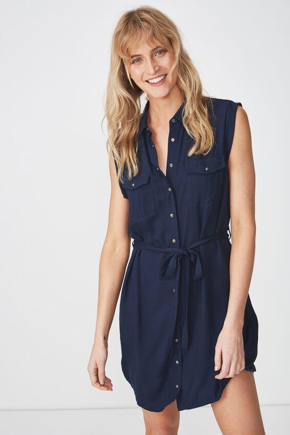 Woven Tilly Sleeveless Shirt Dress, NAVY