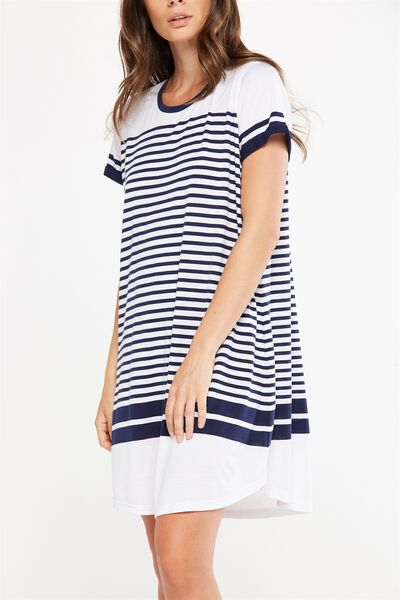 Tina Tshirt Dress 2, SPACE NAVY WHITE PLACEMENT STRIPE