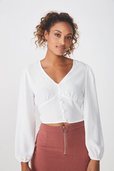 Maddie Button Up Blouse, WHITE