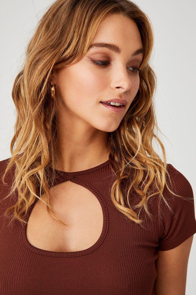 Camilla Cut Out Short Sleeve Top, DARK SIENNA