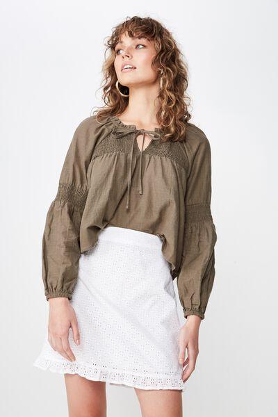 Woven Vanessa Mini Broiderie Skirt, WHITE