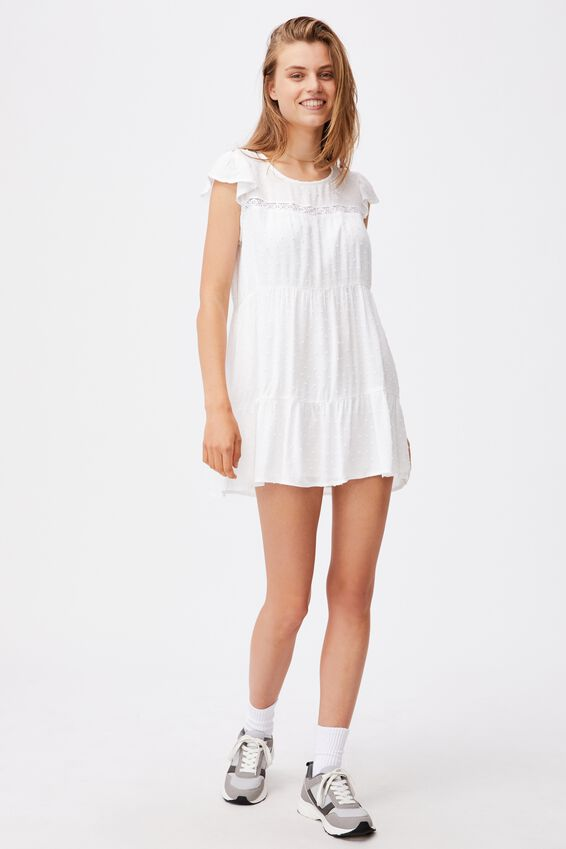 Woven Ivy Frill Sleeve Mini Dress, WHITE