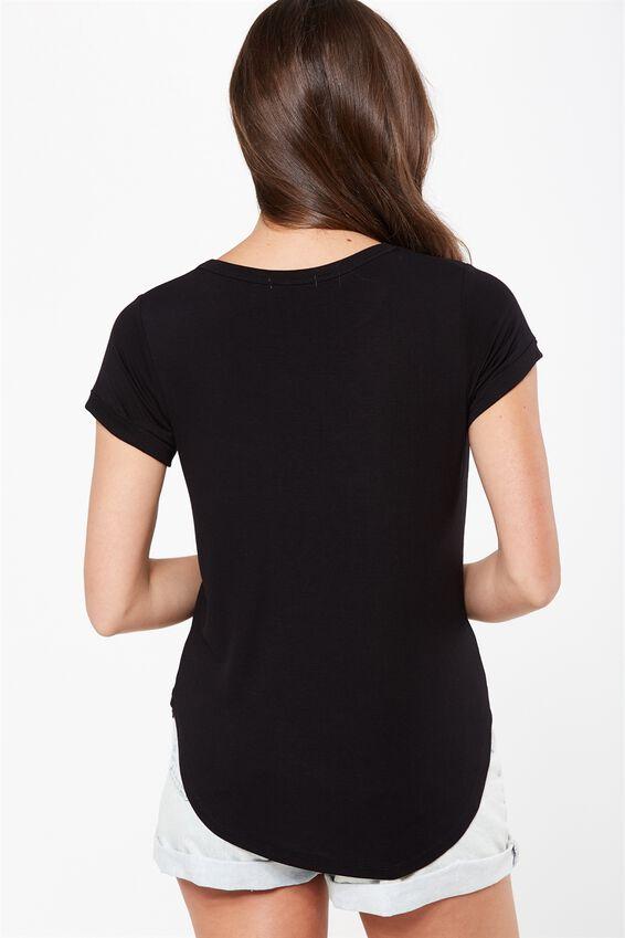 Kathleen Short Sleeve Top, BLACK