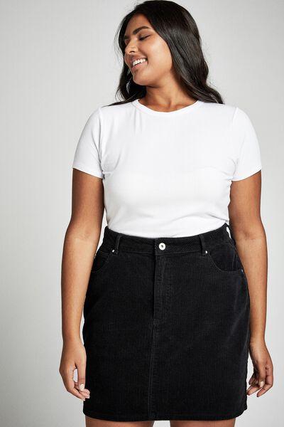 Curve Woven Havana Cord Mini Skirt, BLACK