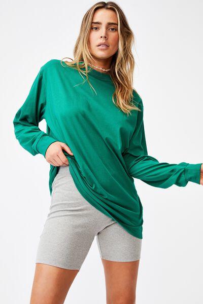 Basic Oversized Long Sleeve Top, HERITAGE GREEN
