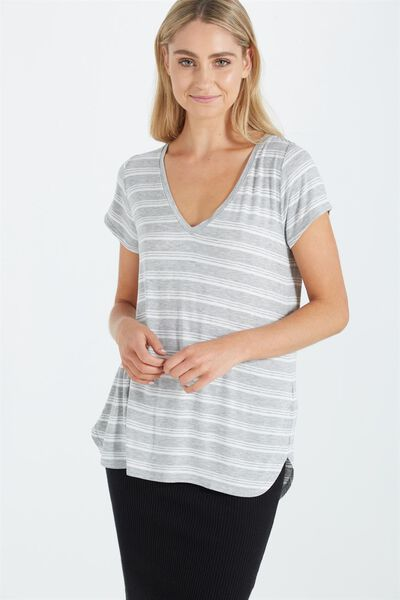 Keira Short Sleeve V-Neck T Shirt, TERRY STRIPE DEEP GREY/WHITE