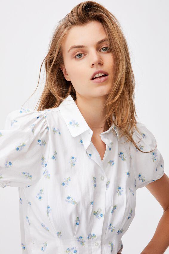 Woven Bambie Button Front Shirt Dress, ARABELLA FLORAL WHITE MINI