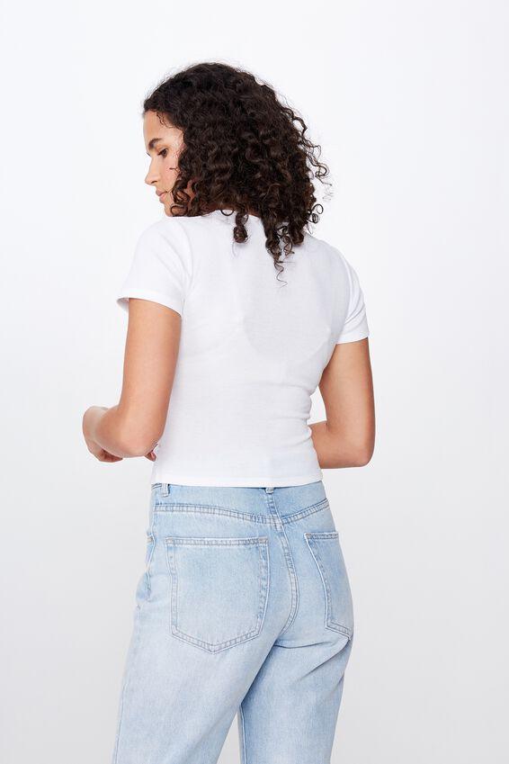 Amanda Gather Front Short Sleeve Top, WHITE