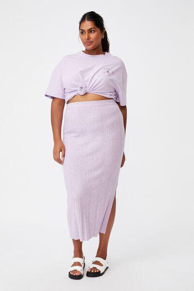 Curve Knit Midi Skirt, LILAC BLOOM MARLE