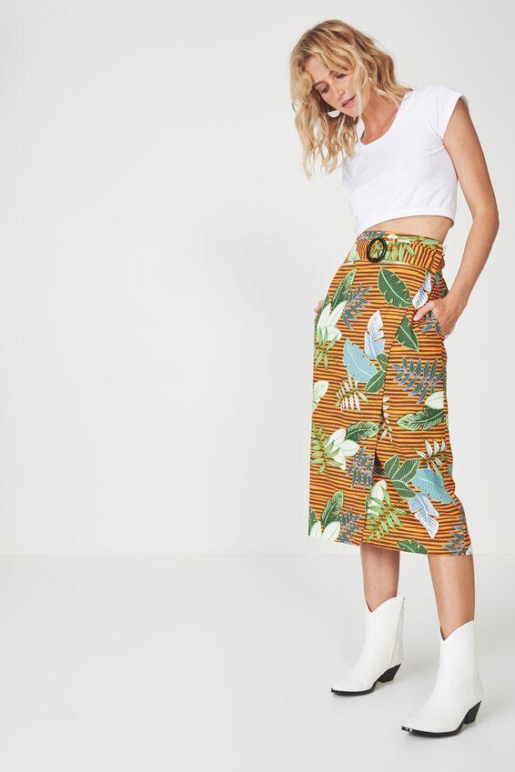 Woven Melanie Wrap Midi Skirt, PERRY TROPICAL EXUBERANCE - L